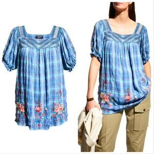 Johnny Was Plaid Puff Sleeve Peasant Top New